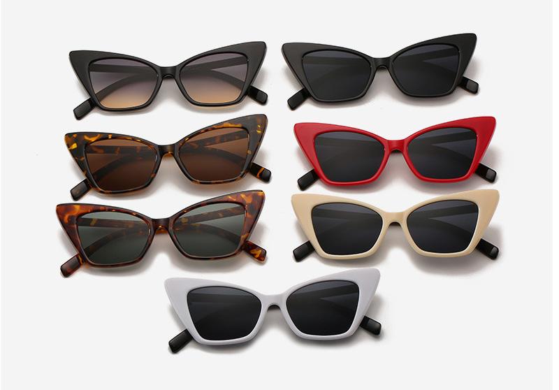 Flat lenses narrow arms cat eye ladies sunglasses
